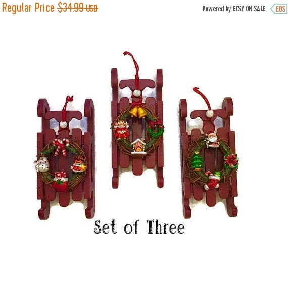 ON SALE Three Santa Wooden Sleigh Sled Ornaments By