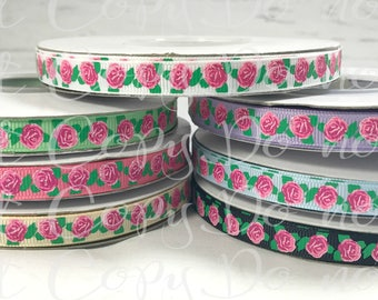 "3/8"" Ribbon, US Designer Ribbon, Roses Ribbon, Glitter Ribbon, Flower Print Ribbon, Ribbon for Bows, Hair Bow Ribbon, DIY Hair Bows"