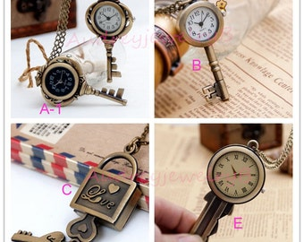 1pcs Antique Bronze  Key Watch Charms Pendant with chain Necklace, friends gifts, children's necklace fittings