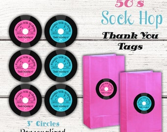 1950's Birthday Party 3 inch Thank you tags, 50's sock hop party, Fifties party, gift tags, favor tags, Pink & Turquoise, Digital file