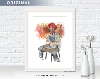 CHEF Painting, Chef Cooking Watercolor Painting, Chef Original Painting, OOAK, Kitchen Wall Decor, Kitchen Wall Art, Chef
