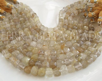 "Full 8"" strand gold RUTILATED QUARTZ faceted gem stone cube beads 6.5mm - 7.5mm"