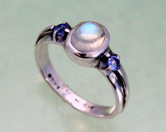 8x6 Ridge Cross Ring with Moonstone and Tanzanite Accent Stones  ~ Sizes 4 to 9