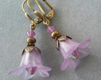 Lavender Lucite Flower and Swarovski Crystal Earrings