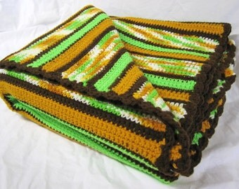 Vintage Mint Green Camel Brown Handmade Crochet Afghan Throw 63 x 57 inches