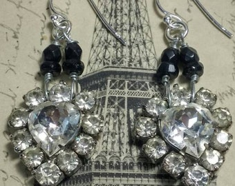 SPARKLING HEARTS rhinestone vintage assemblage earrings so antique