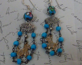 SCOTTY DOG  vintage antique assemblage earrings