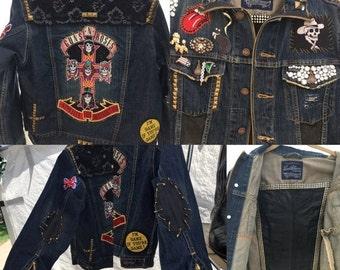 Sale Handmade Vintage Patches Guns and Roses Levis denim Jacket size Medium