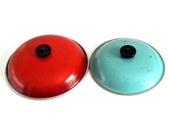 "Club Aluminum Cookware Lids for 12"" Poppy Red Orange Skillet, or 10"" Turquoise Dutch Oven"