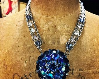 OOAK Vintage Brooch Necklace Stunning Blue Rhinestone