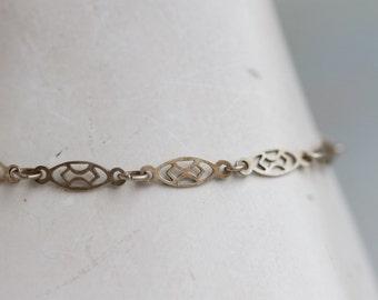 Thin Filigree Bracelet - Silver Toned Chain - Elegant 80s Jewelry