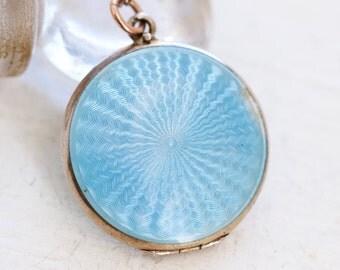 Blue Photo Locket Necklace - Sterling Silver Keepsake Pendant - Antique Art Deco Jewelry