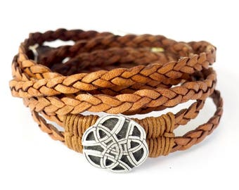 Braided Celtic Knot, Wrap Bracelet, Whirly Wrap, natural braided leather, antique silver, Celtic Eternal Knot, secure magnet, easy on
