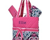Personalized Diaper Bag in a Pink Ikat Print 3PIECE