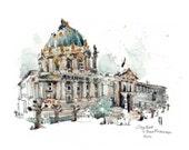 City Hall, San Francisco; print 14x11 inch; watercolor