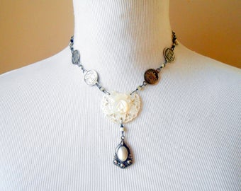 Mother of Pearl Necklace, Assemblage Jewelry, Choker, Antique Pendant, Sterling Silver, Coin, Vintage Repurposed, Upcycled, Recycled