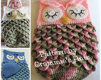Baby owl cocoon  and cap pattern