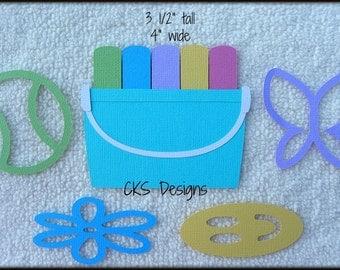 Die Cut Sidewalk Chalk Scrapbook Page Embellishments for Card Making Scrapbook or Paper Crafts