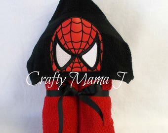 """Spiderman inspired Web Super Hero Hooded Bath Towel! 9"""" Black hood. READY TO SHIP! Can be personalized. Perfect gift for Child or Adult"""