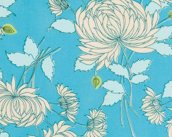 Cotton sewing quilting fabric by the yard - Amy Butler Belle - Chrysanthemum blue aqua - Wesminster fabric - 100% cotton - Amy Butler