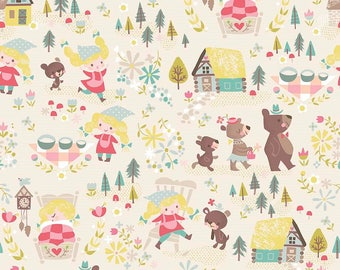 LAMINATED cotton fabric by the yard (similar to oilcloth) - Goldilocks and Bears Cream - EXCLUSIVE - Approved for children's products