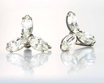 Marquis Rhinestone Earrings. Three stone Crystal Sterling silver Earrings. Vintage 1950s jewelry