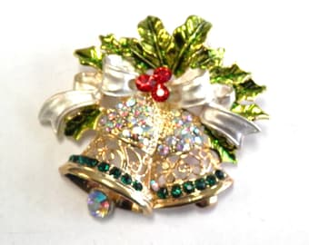 Vintage Gold Tone Bells with Red and Green Rhinestones and Holly