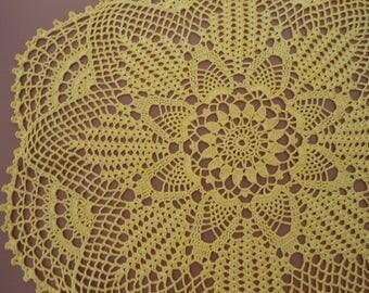 """Yellow crochet doily, pineapple crochet doily, Crochet lace doily, handmade doily, 21"""""""