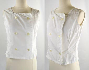 1960s White Sleeveless Double Breasted Button Blouse, Square Neckline, Nautical Top