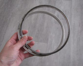 Vintage Silver Metal Round Embroidery Hoops - set of two - 6 inch diameter