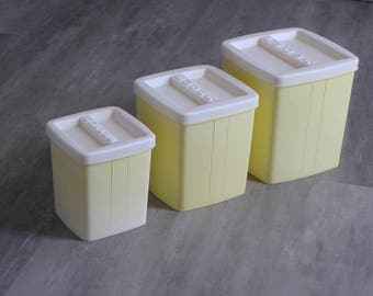 Vintage Yellow and White Canisters - Set of Three