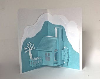 HOME and SNOW MOUNTAINS Pop-Up 3D Card Home Décor Origamic Architecture Handmade in Metallic Light Blue & Shimmery White One Of A Kind