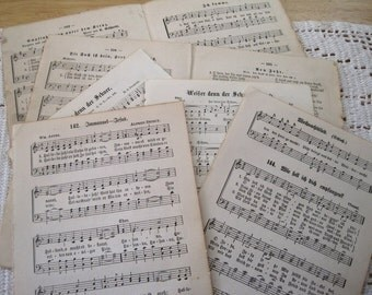 20 Antique Vintage German Hymnal Pages.  German Hymnal sheet music bundle. German typography. Old hymns for paper crafts