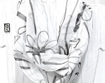 Fashion Boho Scarf Infinity, Loop Scarf Boho, White Chiffon Scarf Spring, Black Wildflowers, Hand Painted Silk Circle Scarf, 11x60 inch