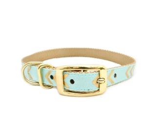 Traditional Dog Collar, Blue Chevron Print