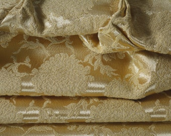 "Satin Brocade Curtains, Gold, Hollywood Glam, 60"" l. x 16""w. at Top x 25"" w. at Bottom"