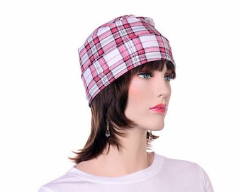 Plaid Round Sleep Hat Red White Black Scrub Hat Chemo Night Cap Nightcap Pajama Hat Cook Hat Yoga Hat