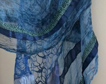 women's elegant shawl, lace scraf, artsy unique shawl, patchwork shawl, cornflower blue shawl, gypsy shawl, boho scraf, upcycled clothing
