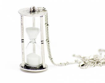 Hourglass Necklace Sanduhrkette Miniblings 5cm RUNNING WITH SAND pm Hourglass 80cm silver