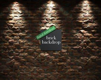 Brick Backdrop, Brick Wall Background, Digital Brick Wall, Hires Brick backdrop, Brick Photography Backdrop, Photo Studio Prop, DOWNLOAD