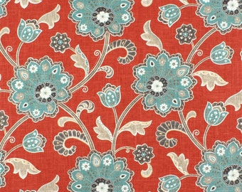 Curtain Valance Topper Window Valance 52x15 Duralee Braemore Ankara Scarlet Red Blue Floral