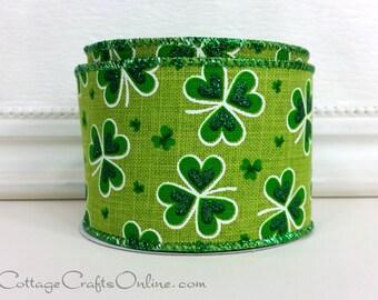 "St Patrick's Wired Ribbon, 2 1/2"",  Shamrocks Green, Glitter on Faux Linen - TEN YARD ROLL - ""Linen Shamrock"",  St Patrick's Day Ribbon"