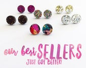 Mini Glitter Pop Studs - Choose Your Own Colour
