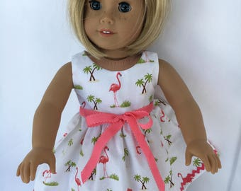18 inch doll flamingo dress with shrimp rick rack and bow, made to fit 18 inch dolls such as American Girl dolls and similar size dolls