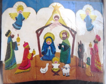 Jeweled Nativity Standing Screen Craft Kit by Bucilla 48653 - Holy Family Mary Joseph Jesus Wisemen Angels  New Unopened Christmas DIY Craft
