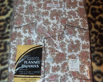 Cotton Flannel Pajamas Men's Vintage 60's Vintage by Montgomery Ward Large PJs Made In Hong Kong Deadstock NOS