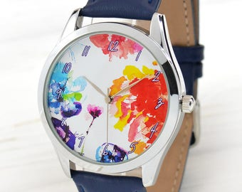 Watercolor Art Flowers Watch | Bitrhday Present for Her | Unique Gifts for Mom | Women Watches | Art Watercolor Jewelry | Free Shipping