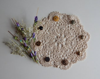 Lacy Crochet Doily Button Trimmed - Ecru, Natural, Off White