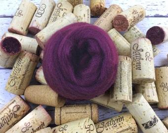 Wine Merino Wool Roving, Burgundy merino wool roving, needle felting wool, Nuno felting wool, burgundy merino wool, spinning wool, merino