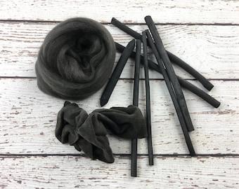 Carbon Merino Wool Roving, wet felting wool, needle felting wool, wet felting roving, nuno felting wool, spinning wool, carbon felting wool